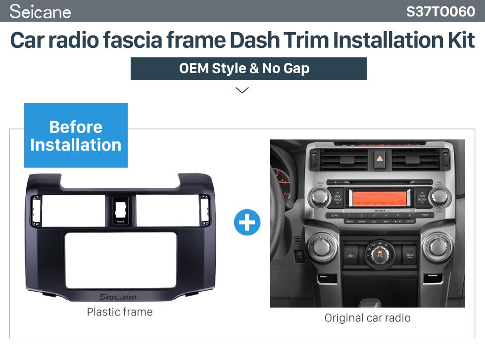 Seicane Well-designed Double Din 2012 Toyota 4 Runner Car Radio Fascia Stereo Dash Kit Face Plate Panel Frame