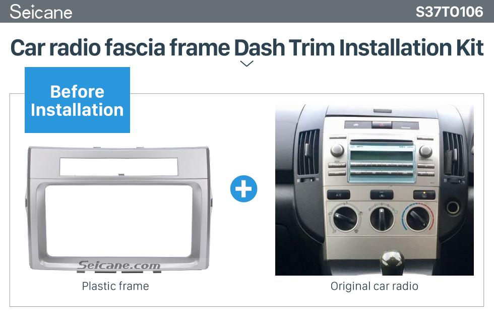 Seicane Silver Double Din 2006 Toyota Verso Car Radio Fascia Panel Adaptor Trim Installation Kit Audio Cover Frame