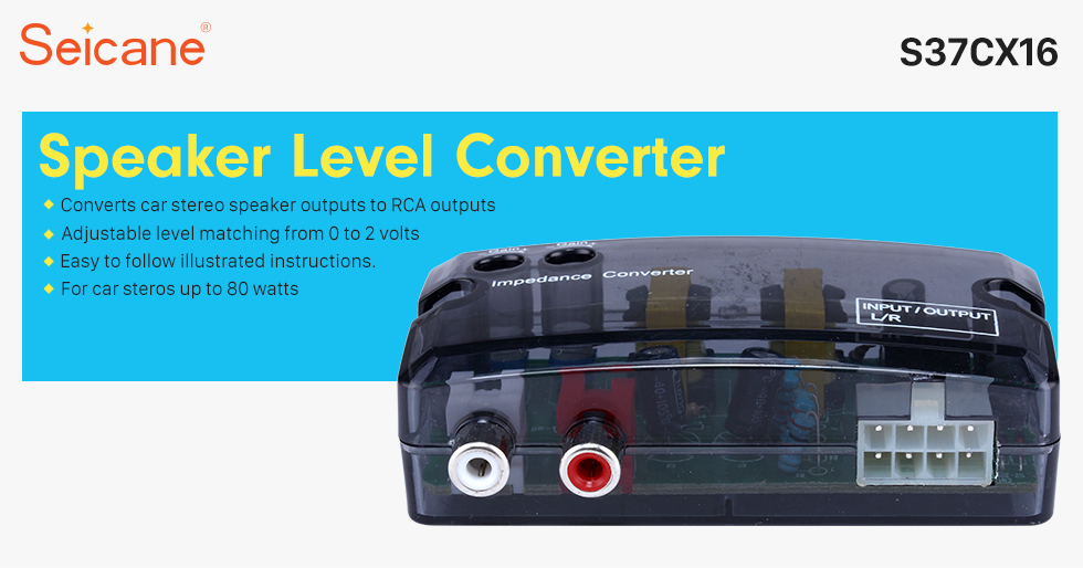 Seicane Car 2Ch Adjustable Impedance Converter High Level to Low Level Speaker Box Amplifier Time Delayer Adapter