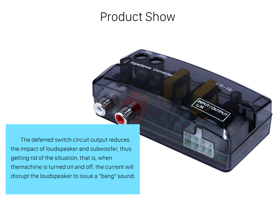 Product Show Car 2Ch Adjustable Impedance Converter High Level to Low Level Speaker Box Amplifier Time Delayer Adapter