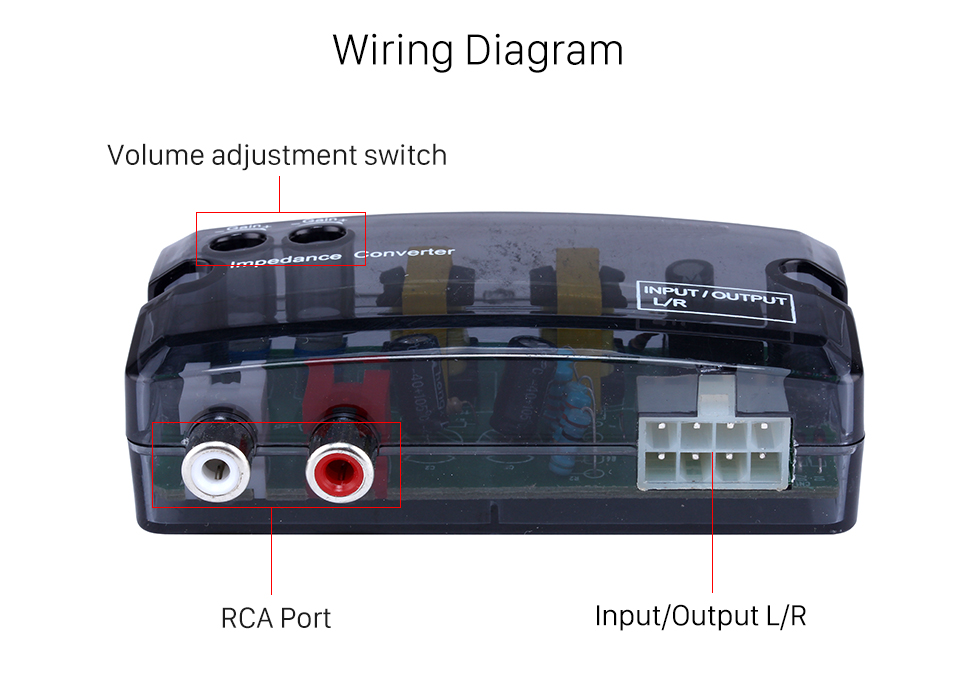 Wiring Diagram Car 2Ch Adjustable Impedance Converter High Level to Low Level Speaker Box Amplifier Time Delayer Adapter
