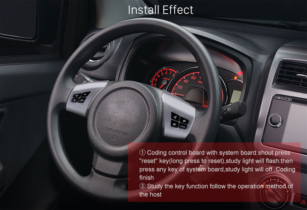Install Effect For TOYOTA AGYA Studying Steering Wheel Audio Controller Music Volume Bluetooth Phone Remote Button