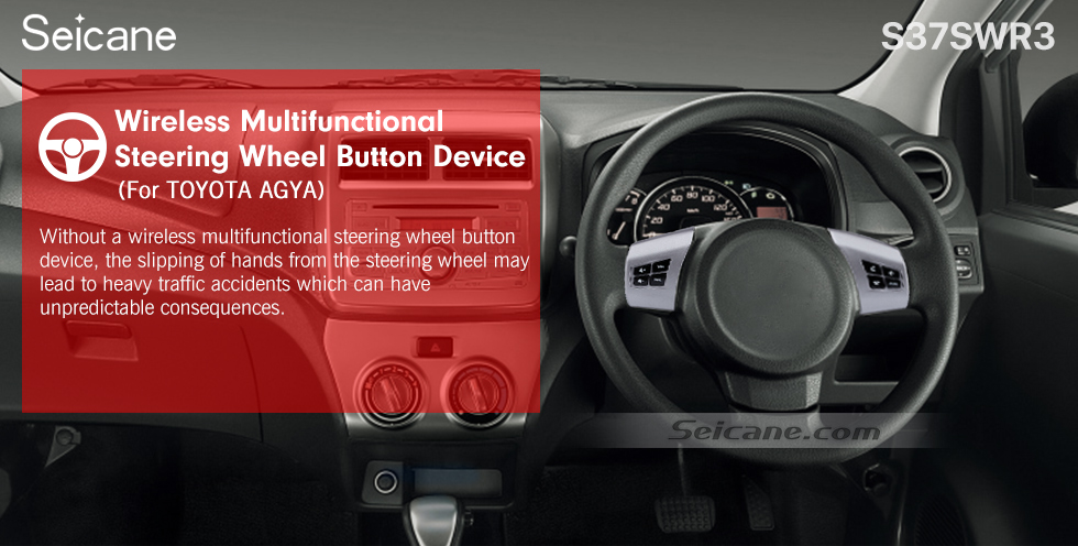 Seicane For TOYOTA AGYA Studying Steering Wheel Audio Controller Music Volume Bluetooth Phone Remote Button