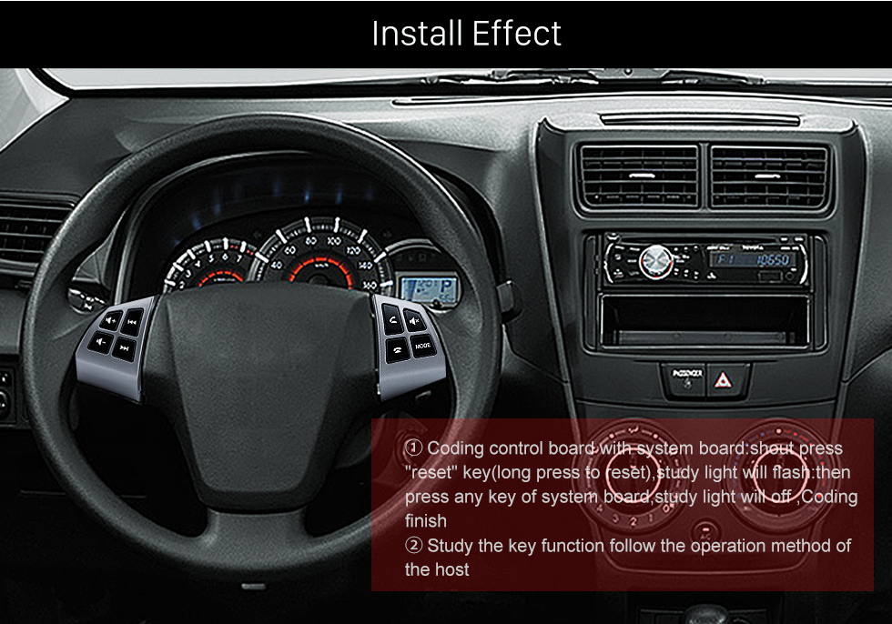 Install Effect Music Player Volume Bluetooth Phone Remote Button Studying Steering Wheel Audio Controller for TOYOTA AVANZA