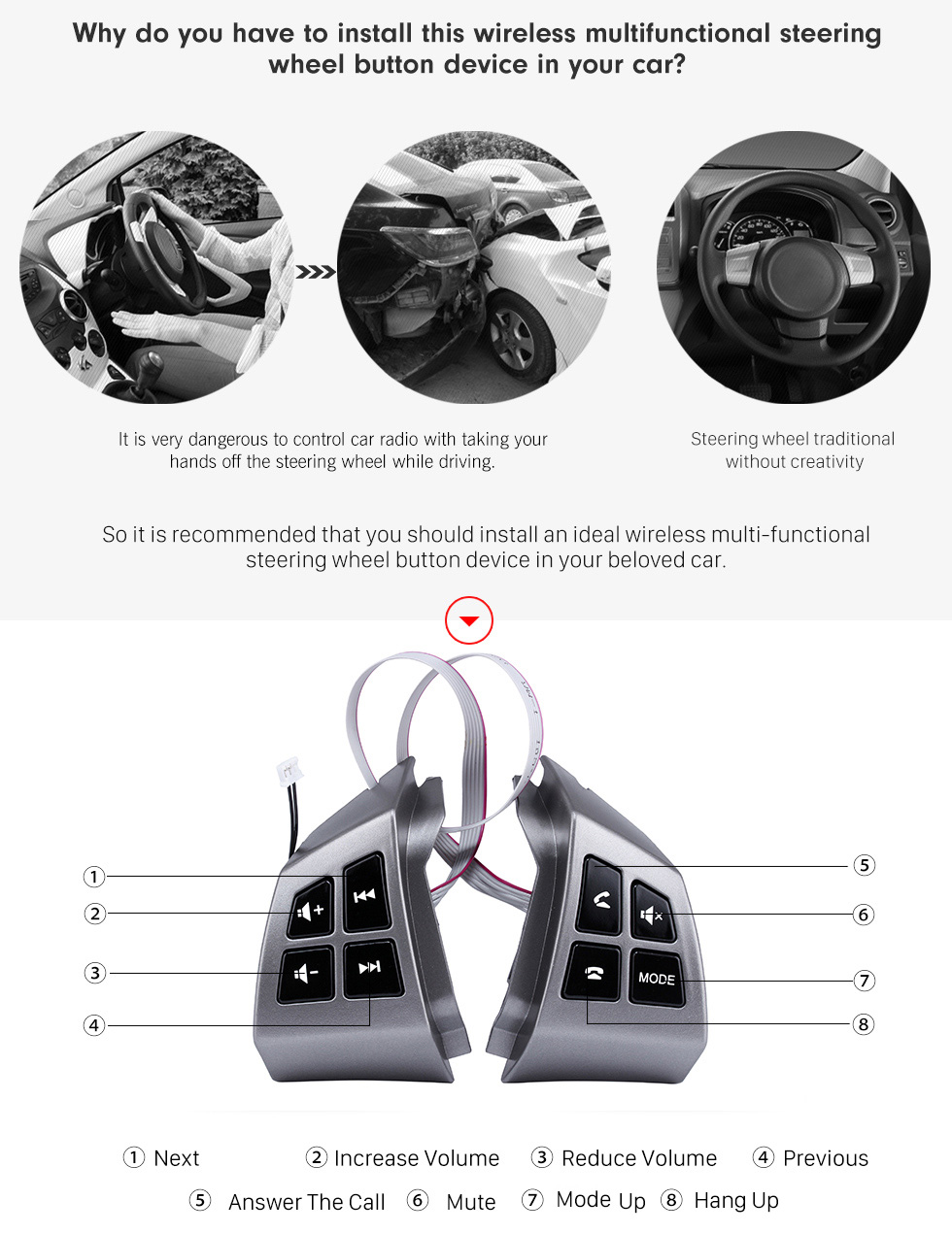 Why do you have to install this wireless multifunctional steering wheel button device in your car? Music Player Volume Bluetooth Phone Remote Button Studying Steering Wheel Audio Controller for TOYOTA AVANZA