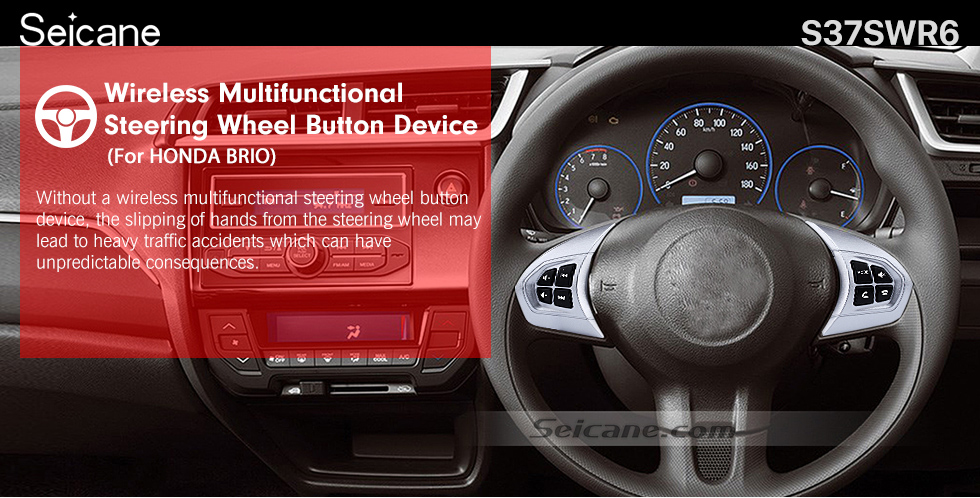 Seicane Audio Studying Steering Wheel Controller Remote Button Music Player Bluetooth Phone Regulator for HONDA BRIO