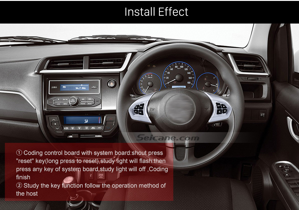 Install Effect Audio Studying Steering Wheel Controller Remote Button Music Player Bluetooth Phone Regulator for HONDA BRIO