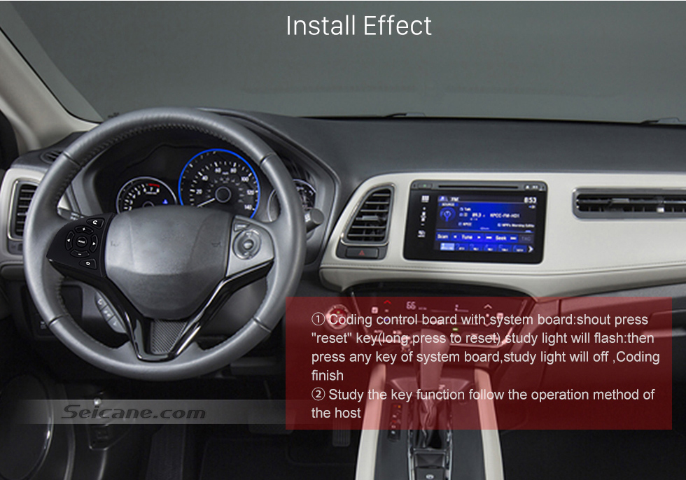 Install Effect High Quality Studying Steering Wheel Audio Controller Regulator Volume Music Player Bluetooth Phone Remote Button for HONDA HRV CITY