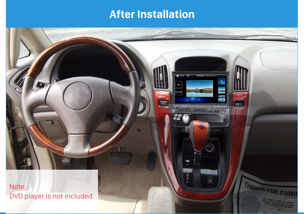After Installation Newest One Din 1997-2003 Lexus RX-300 Harrier Car Radio Fascia Stereo Interface CD Trim Panel Dash Trim Kits