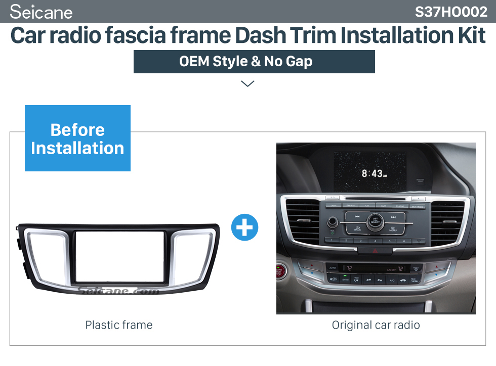 Car radio fascia frame Dash Trim Installation Kit  Dashboard 2 Din Car Radio Fascia for 2013 Honda Accord Auto stereo Adapter DVD Panel Dash Kit Audio frame