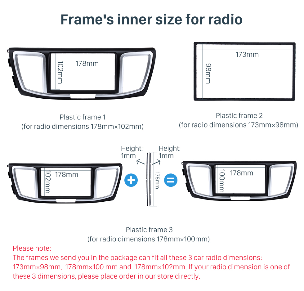 Frame's inner size for radio Dashboard 2 Din Car Radio Fascia for 2013 Honda Accord Auto stereo Adapter DVD Panel Dash Kit Audio frame