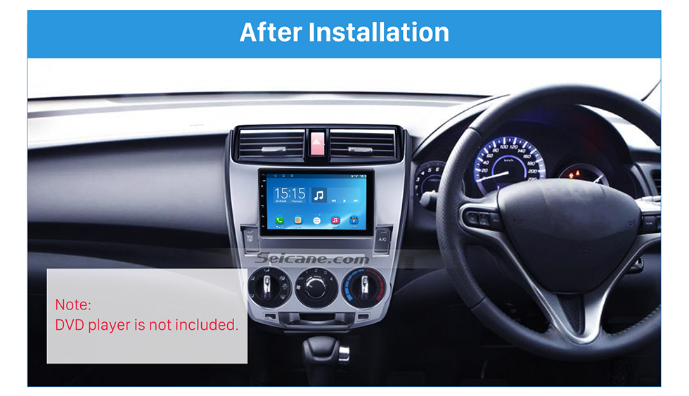 Seicane Double Din 2008-2013 Honda City Ballade Manual AC Car Radio Fascia Panel Plate CD Trim Panel Stereo Dash Kit Installation frame