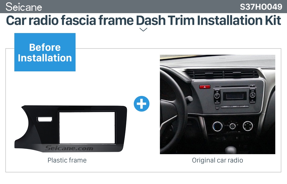 Seicane Top Quality Double Din 2014 Honda City LHD Car Radio Fascia Refitting Kits DVD panel Auto Stereo frame