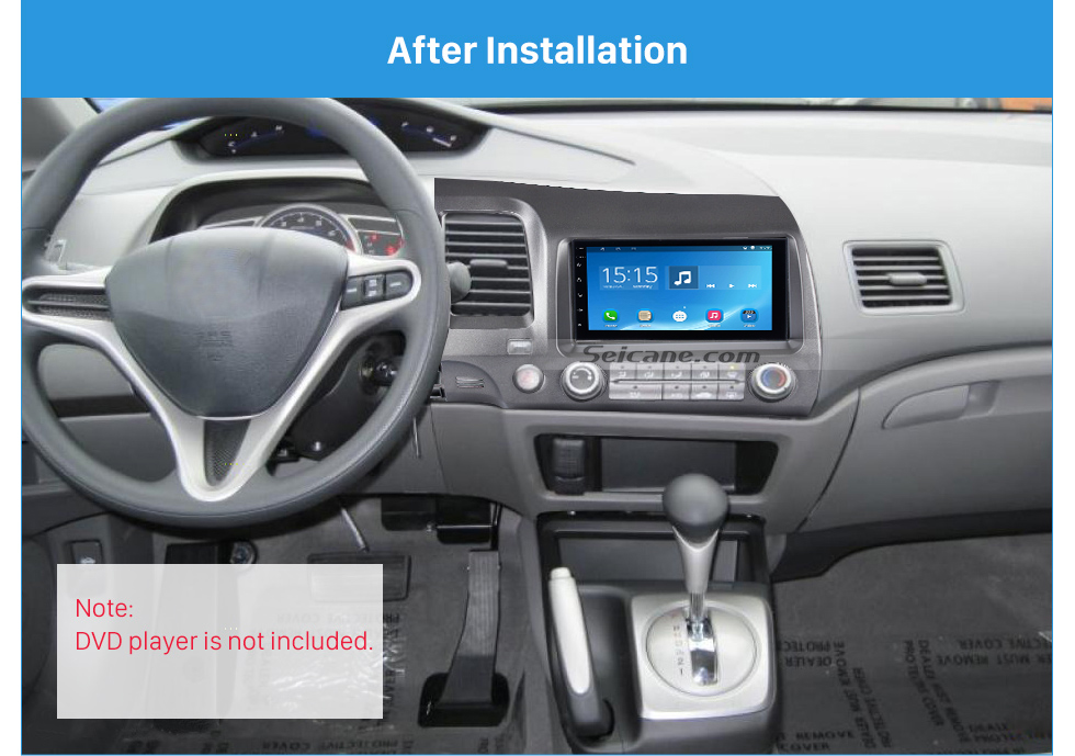 Seicane Special 2Din 2008-2011 Honda Civic LHD with SRS Hole Car Radio Fascia Installation Trim Dash Kit Radio Frame Auto Stereo