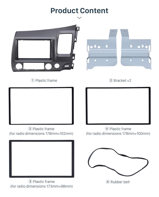 Seicane Classic Gray 2Din 2008 2009 2010 2011 Honda Civic RHD Car Radio Fascia Auto stereo Adapter In Dash Mount Kit Frame Panel