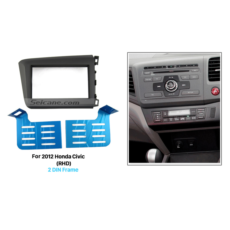 Seicane Attractive Appearance Double Din 2012 Honda Civic RHD Car Radio Fascia In Dash Mount Kit Audio Frame Trim Panel