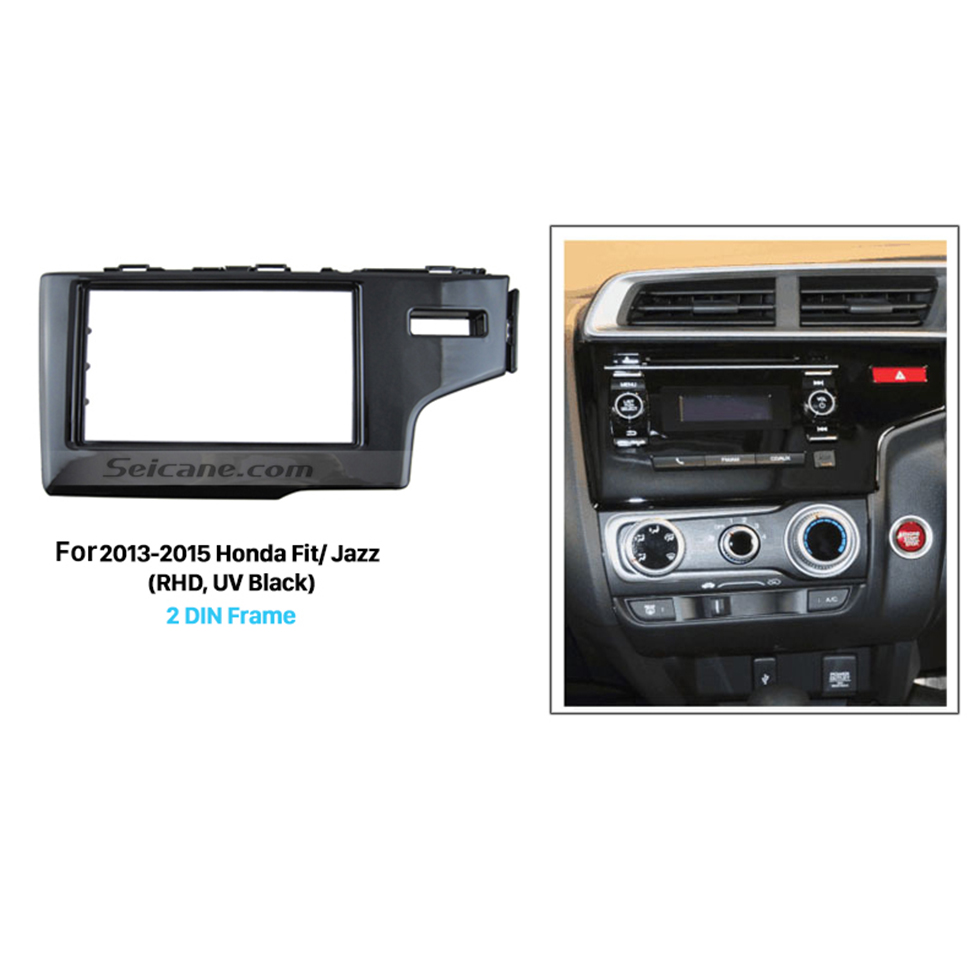 Seicane UV Black 2Din 2013 2014 2015 Honda Fit Jazz RHD Car Radio Fascia Auto Stereo Adaptor Dash Mount DVD Player