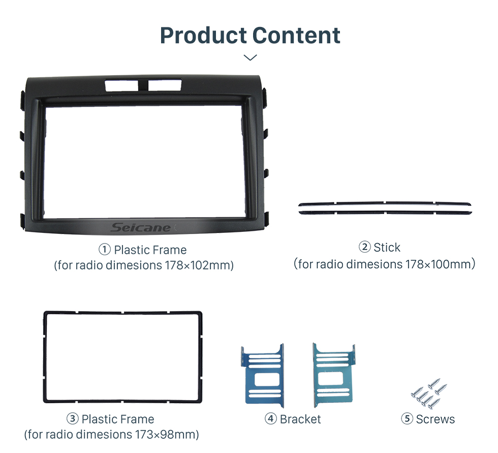Seicane 2DIN Car Radio Frame High Quality Cover Fascia for 2012 Honda CRV Dash Trim installation Kit Auto Stereo interface Panel Plate surround DVD Player