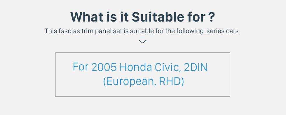Seicane Classic 2Din 2005 Honda Civic European RHD Car Radio Fascia Trim Panel Installation Kit Dash Mount Audio frame