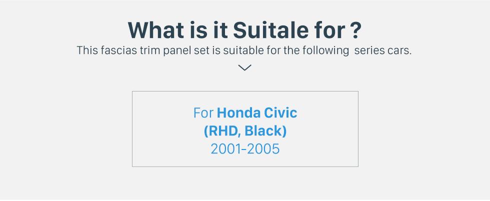 Seicane Excellent Black 2Din 2001-2005 Honda Civic RHD Car Radio Fascia Installation Trim Dash Kit DVD Frame Panel Adaptor