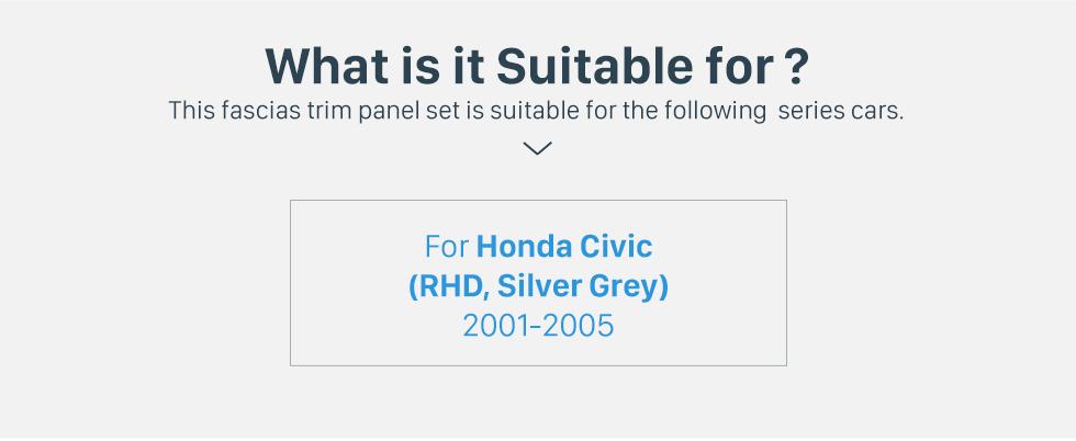 Seicane Silver Grey Double 2Din 2001-2005 Honda Civic RHD Car Radio Fascia Stereo Interface CD Trim Fitting Frame In Dash Mount Kit
