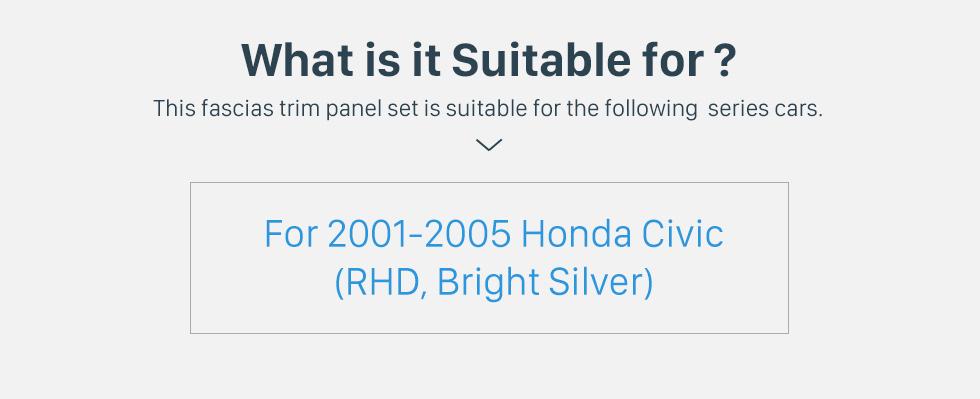 Seicane Bright Grey Double 2Din 2001-2005 Honda Civic RHD Car Radio Fascia Panel Frame Stereo Interface DVD Player