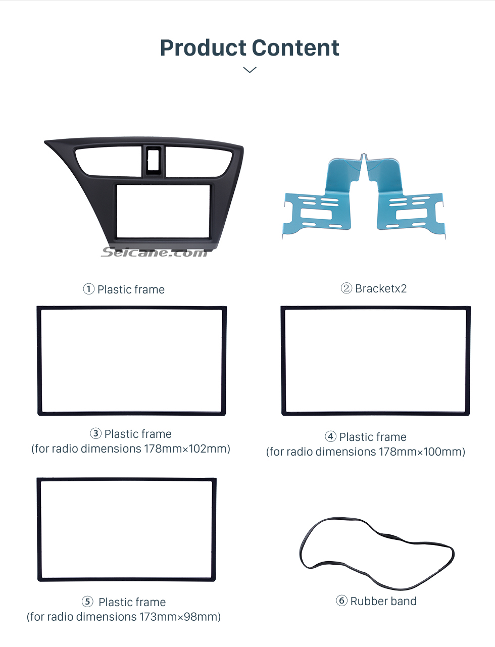 Seicane Standard 2Din 2012 Honda Civic European LHD Car Radio Fascia Fitting Frame Trim Bezel Panel Adaptor