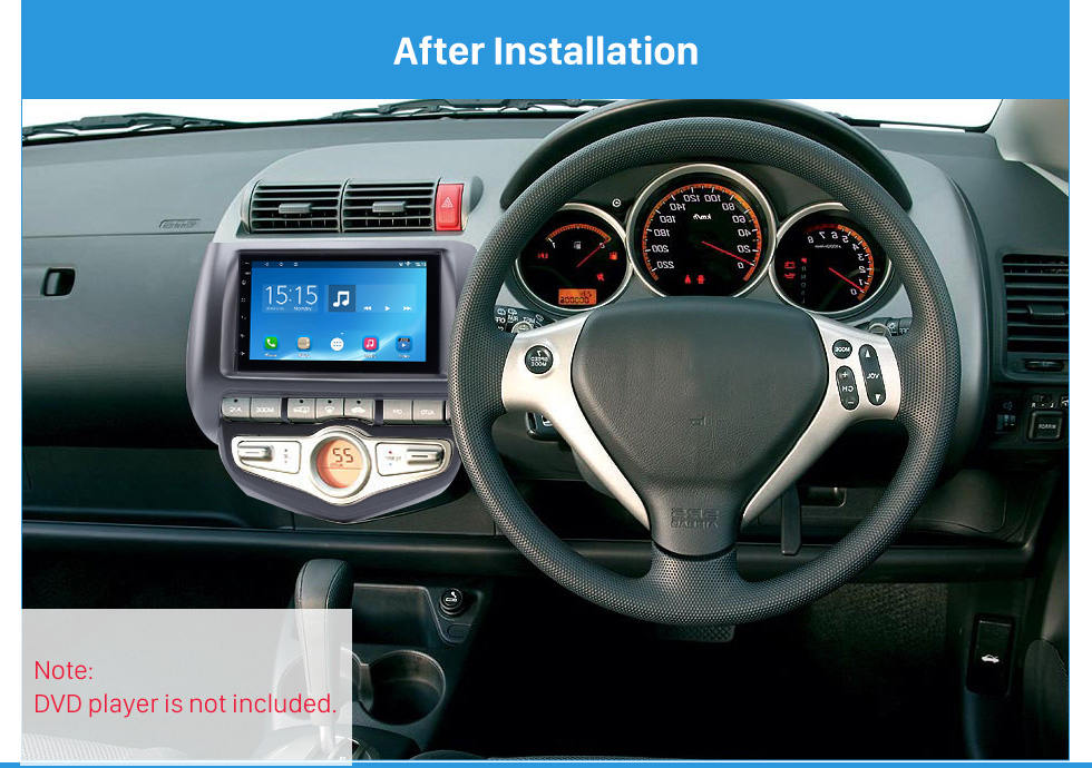 After Installation Awesome Double Din 2006 Honda Jazz City Auto AC RHD Car Radio Fascia Audio Cover DVD Frame Auto Stereo CD