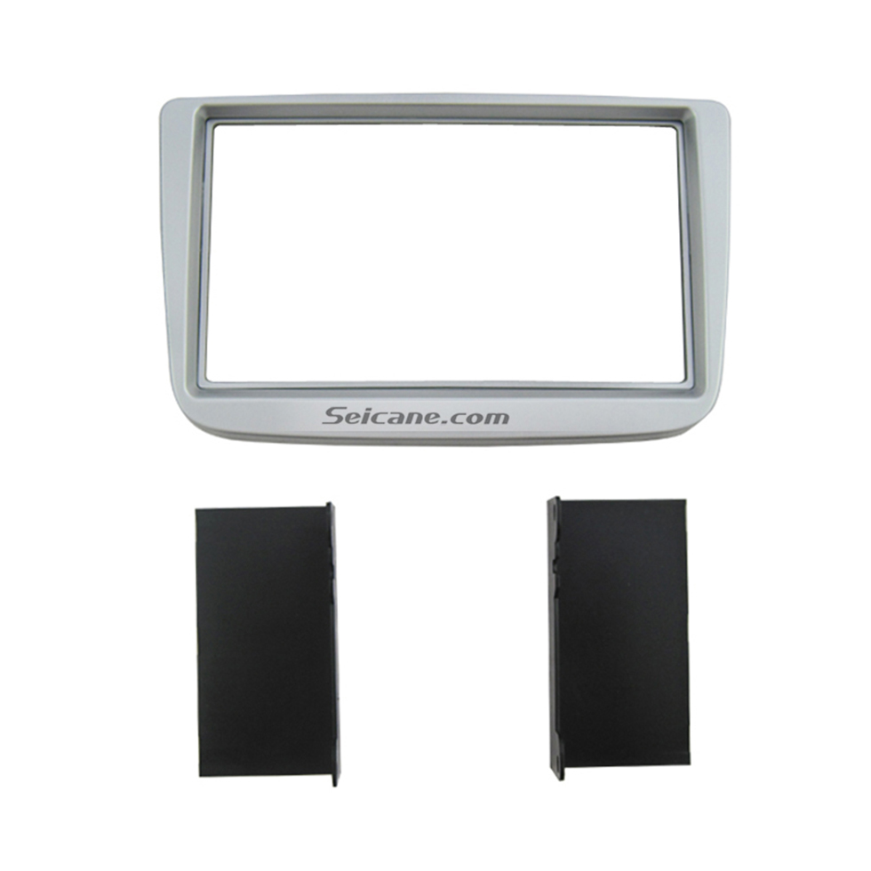 Seicane Silver Double Din 2009 Volkswagen Lavida Car Radio Fascia Stereo Plate Dash CD Trim Panel Fitting Kit Installation