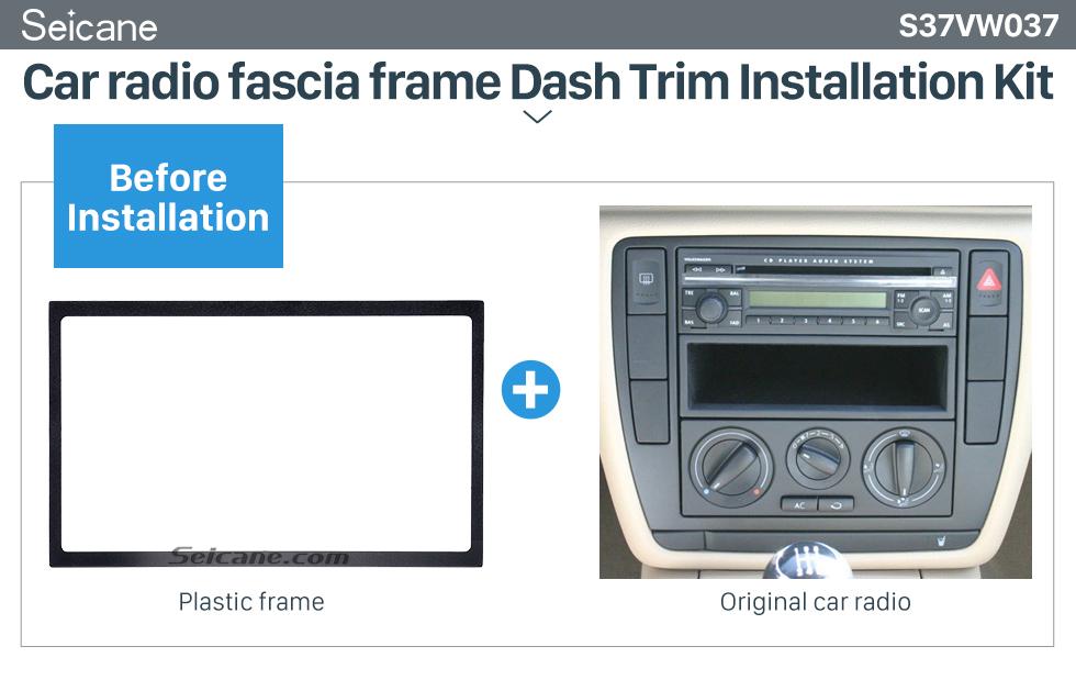 Seicane Doble 2 estruendo marco 2 DIN fascia plato para 2005 Volkswagen Passat Bora 178 x 102mm