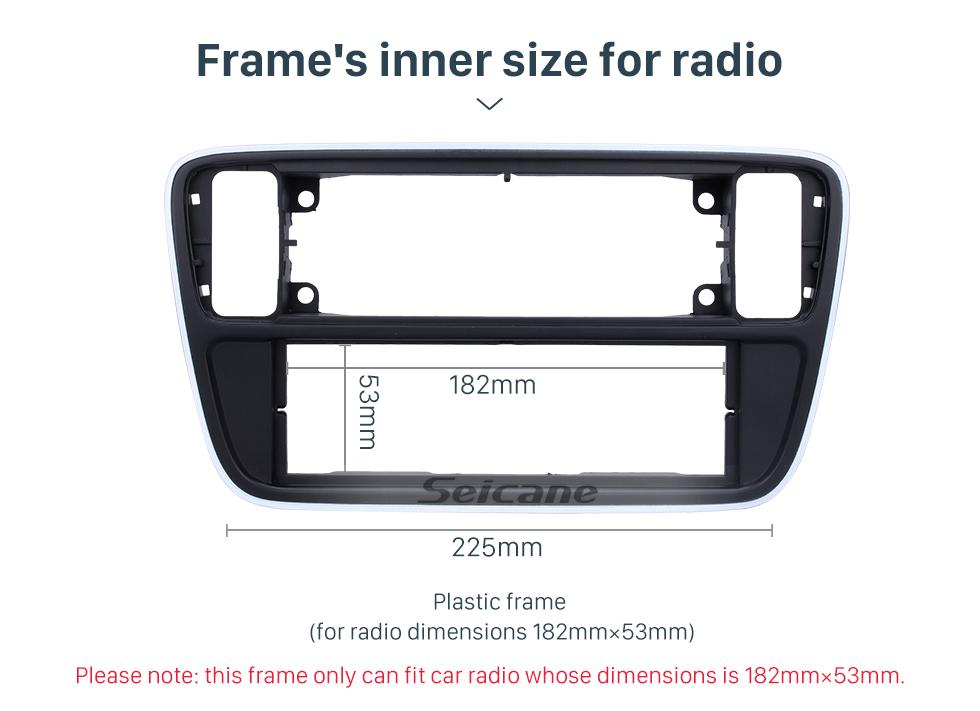 Seicane Matt Black 1Din 2012 Volkswagen Up 2013 Skoda Citigo Car Radio Fascia Stereo Dash Fitting Kit Frame Surround Panel