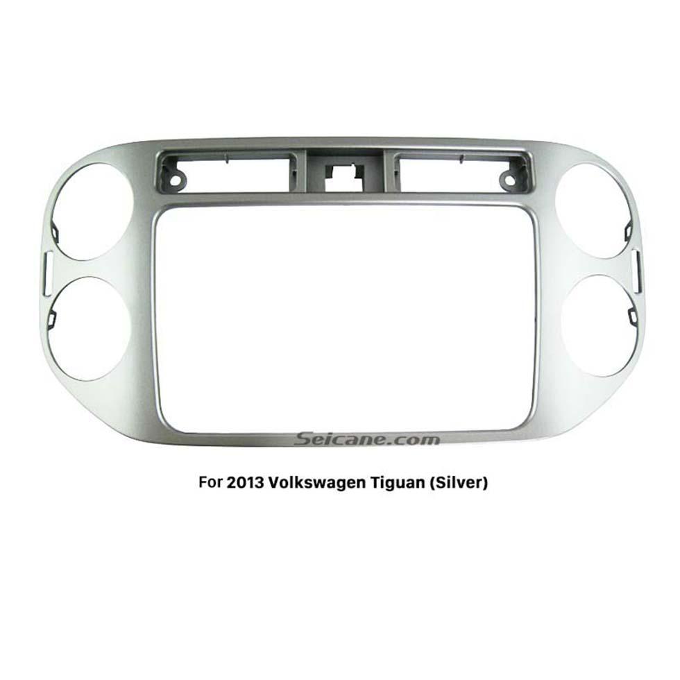 Seicane Silver Double Din 2013 Volkswagen Tiguan Car Radio Fascia Stereo Dashboard Frame Panel Trim Installation