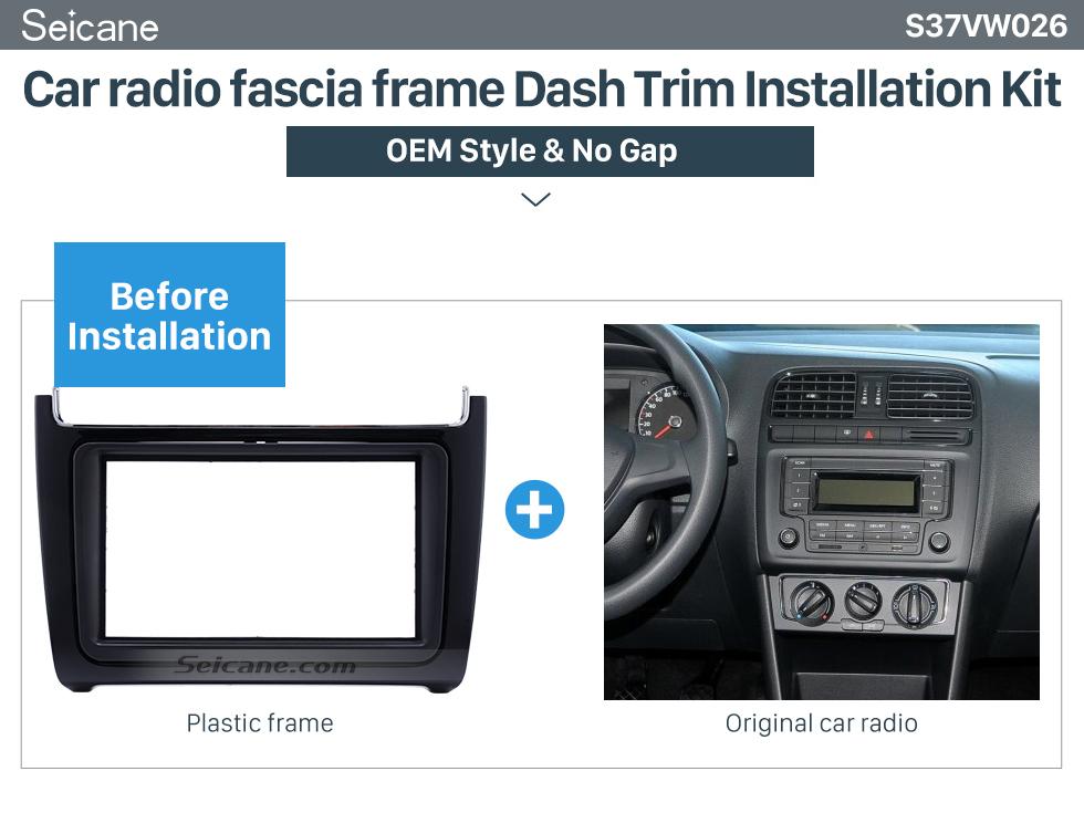 Seicane UV Black Double Din 2014 Volkswagen Polo Car Radio Fascia Auto Stereo DVD Frame Audio Player Trim Installation