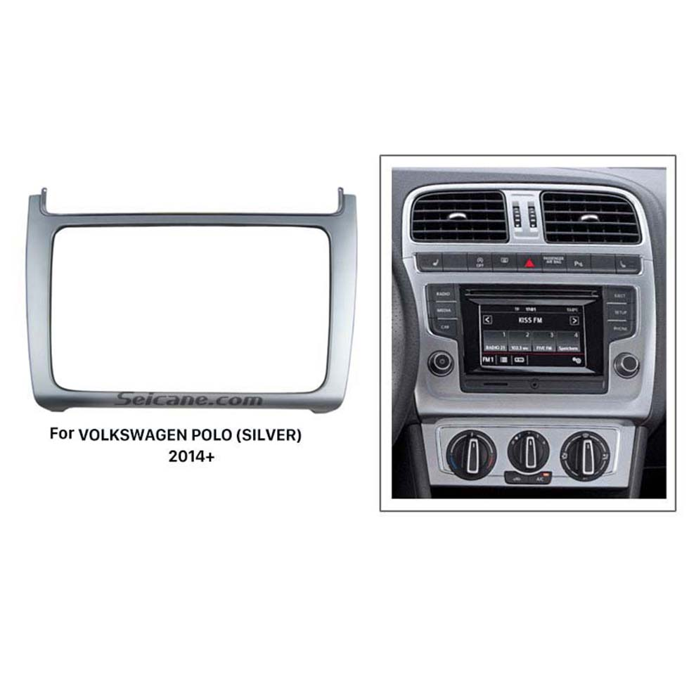 Seicane Silver Double Din 2014 Volkswagen Polo Car Radio Fascia Stereo Player Dash Trim Kits Refitting Outter Frame