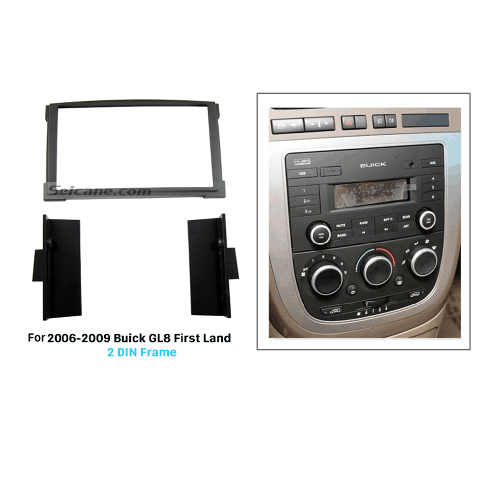 Seicane Black 2Din 2006-2009 Buick GL8 First Land Car Radio Fascia Dash Kit Installation Trim Frame Surround Panel