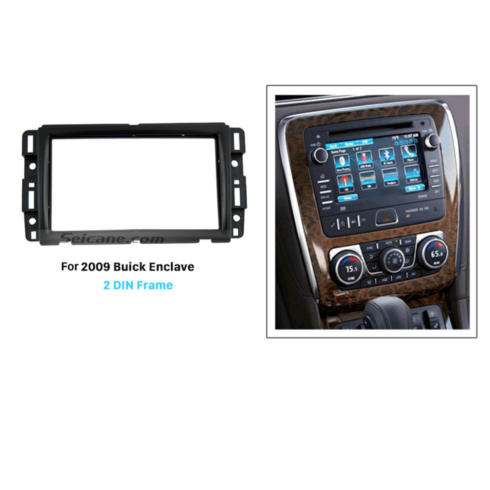Seicane Black Double Din 2007 2008 2009 2010-2012 Buick Enclave Car Radio Fascia Stereo Frame Panel CD Trim Dash Mount Kit Adapter