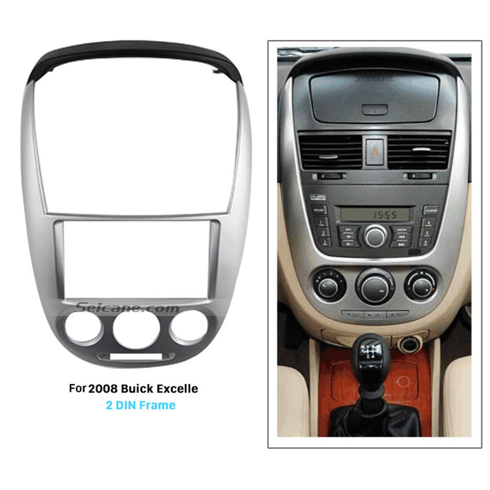 Seicane Silver Double Din 2008 Buick Excelle Car Radio Fascia Face Plate Panel Dash Trim Kit DVD Frame