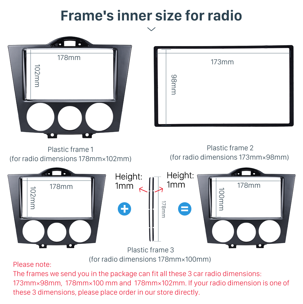 Seicane High Quality 2DIN 2003+ Mazda RX8 Car Radio Fascia Auto Stereo Panel kit CD Trim Dash Installation Refit Frame Car Kit