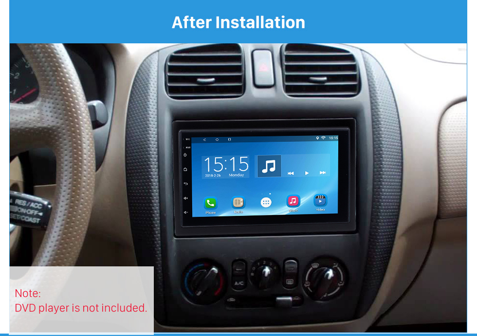 After Installation High Quality 173*98 2Din 2002 Mazda Family Car Radio Fascia DVD Player Auto Stereo Installation Trim Panel Kit Frame Car Styling