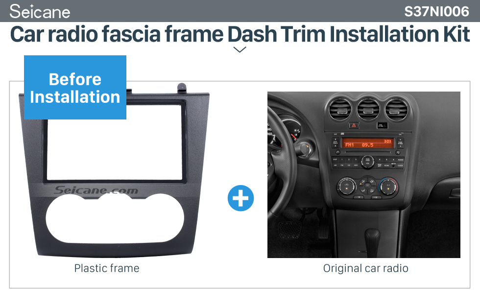 Seicane UV Black Double Din 2006-2012 Nissan Altima Car Radio Fascia DVD Panel Fitting Kit Installation Frame Audio Player