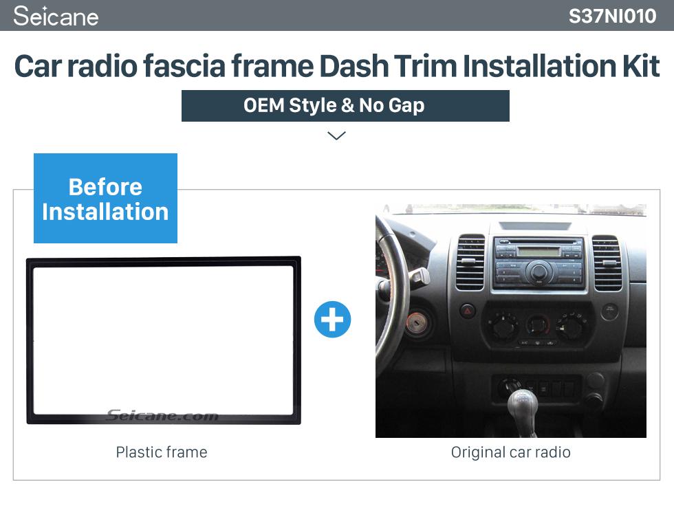 Seicane 173*98mm Double Din 2010 Nissan Paladin Car Radio Fascia Installation Kit Stereo Frame Panel Dash Kit