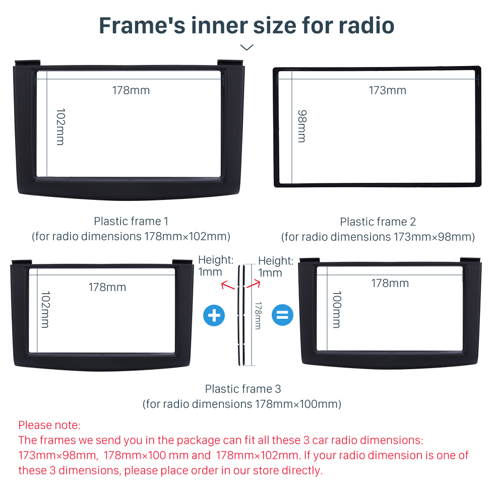 Seicane 173*98mm Black Double Din 2007-2013 Nissan Rogue Car Radio Fascia Stereo Dash CD Trim Installation Kit Frame Surround Panel