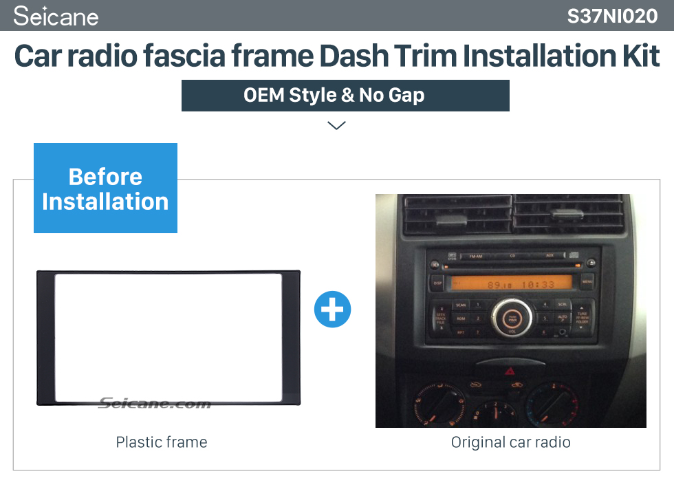 Seicane 173*98mm Double Din 2013 Nissan Livina March Versa Car Radio Fascia Panel Frame CD Trim Auto Stereo Adapter