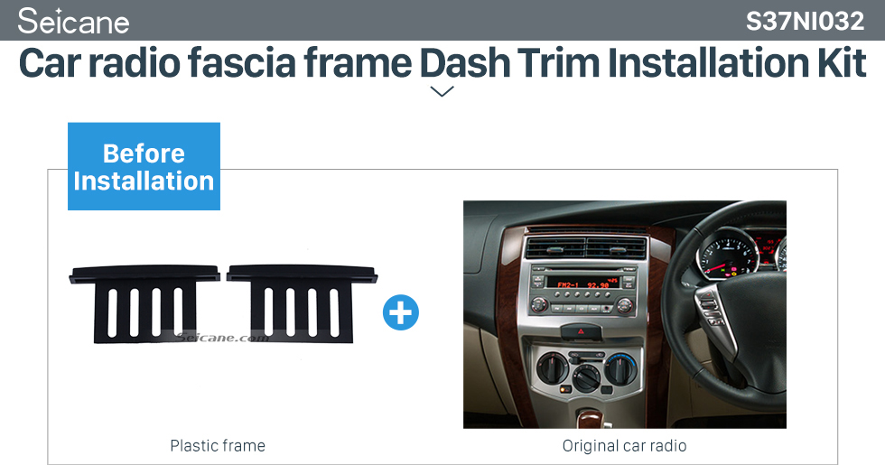 Seicane 173*100mm 2Din 2013 Nissan Livina March Versa Car Radio Fascia Trim Bezel Frame Surround Panel Stereo Install