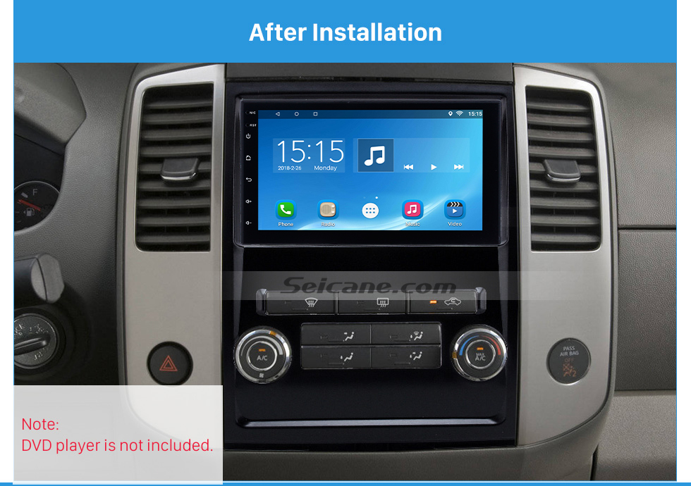 After Installation Black 2Din 2009 Nissan Frontier Xterra Car Radio Fascia Audio Fitting Adaptor Frame Panel Installation