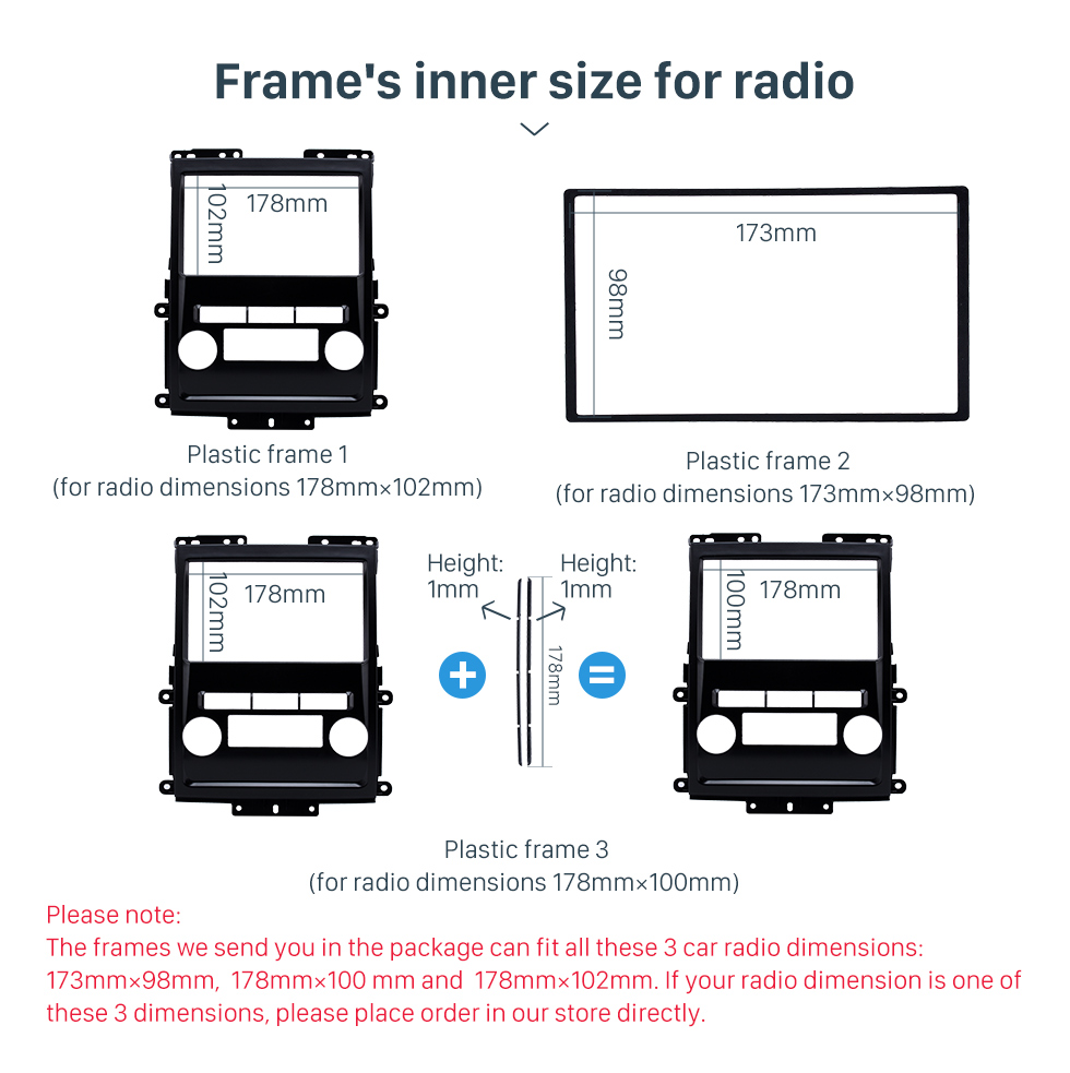 Frame's inner size for radio Black 2Din 2009 Nissan Frontier Xterra Car Radio Fascia Audio Fitting Adaptor Frame Panel Installation