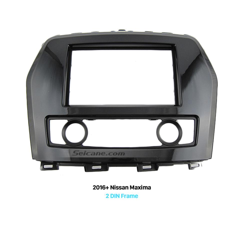 Seicane UV Black Double Din 2016+ Nissan Maxima Car Radio Fascia Fitting Kit Installation Frame Panel CD Trim