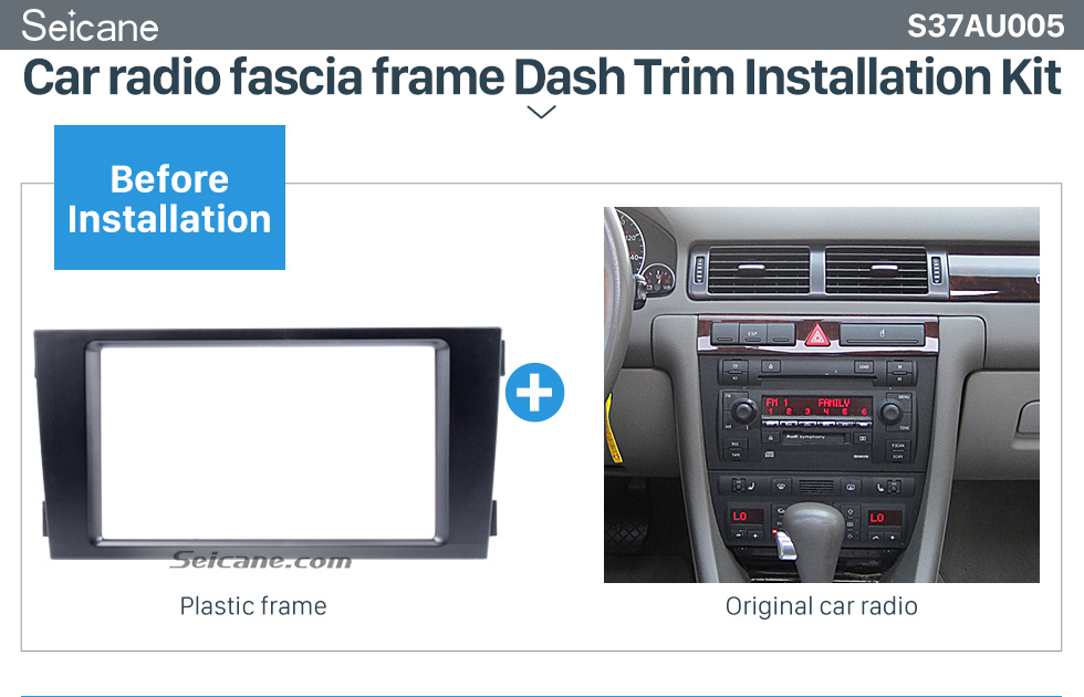 Seicane Black Double Din 2002-2006 Audi A6 Car Radio Fascia Panel Adaptor DVD Frame Dash Installation Kit