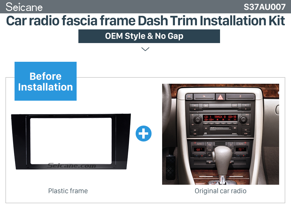 Seicane 173 * 98 mm 2Din 2000 2001 2002 2003 2004 Audi A4 Car Radio Fascia Panel Face Plate Trim Installation Dash Mount frame