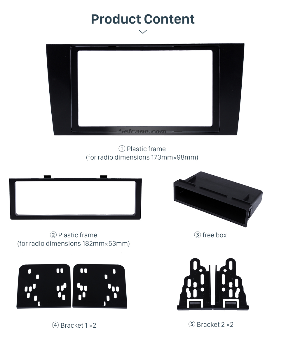 Seicane 173*98mm 2Din 2000 2001 2002 2003 2004 Audi A4 Car Radio Fascia Panel Face Plate Trim Installation Dash Mount frame